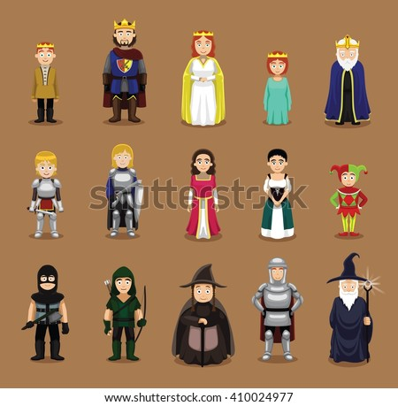 medieval characters set cartoon