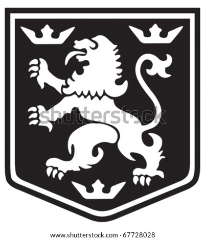 Medieval coat of arms lion with crowns on a shield