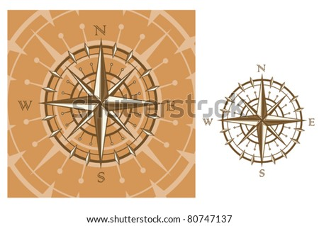 Medieval compass isolated on white background for travel design. Jpeg version also available in gallery