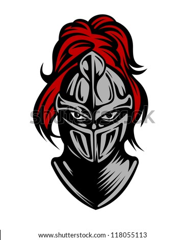 Medieval dark knight in helmet. Vector illustration