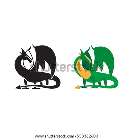 medieval dragon icon and