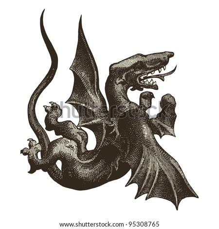 medieval dragon vintage engraved illustration quotla
