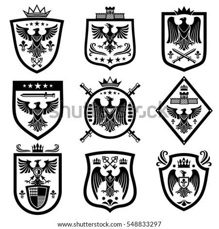 Medieval eagle heraldry coat of arms, emblems, badges.