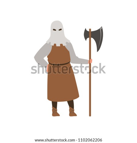 Medieval executioner character standing with ax vector Illustration on a white background ストックフォト ©