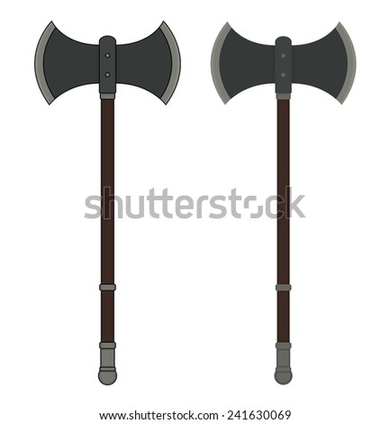 Medieval Executioner Double-Sided Ax. Color Vector Clip ...