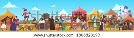 Medieval fair vector illustration. Cartoon flat middle ages or fairy tale fair market with lady and sir characters standing in costumes of feudal lords, jester dancing, priest drinking beer background