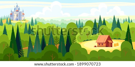 Medieval fairy tale magical landscape panorama with a castle and the house of a fairy tale character in the middle of the forest. Cartoon flat style vector illustration.