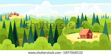 Medieval fairy tale magical landscape panorama with a village and a fairy tale character's house in the middle of a deep forest. Cartoon flat style vector illustration.