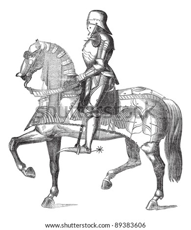 Medieval Knight On Horse Drawing Medieval french knight on a