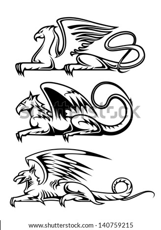 Medieval Gryphons Set For Tattoo Mascot Or Heraldry