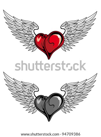 heart with wings for religion or tattoo design in color and desaturated