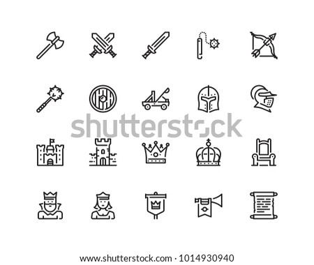 medieval icon set  outline style