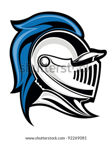 medieval knight head in helmet