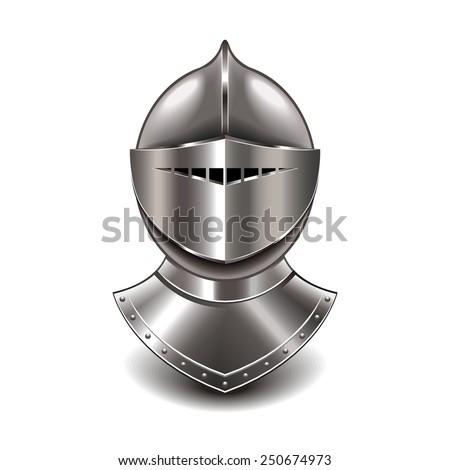 medieval knight helmet isolated