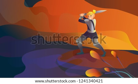 Medieval knight vector character. fictional character Warrior. Woman knight vector. Fantasy Medieval vector illustration. Girl with sword ready for attack. stock vector