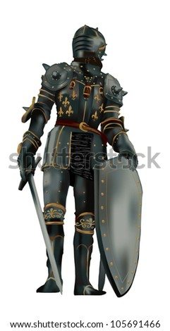 medieval knight with full body