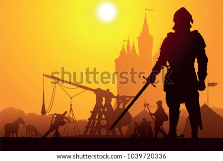 medieval knight with the camp