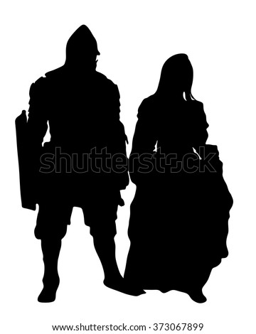 medieval lady and knight