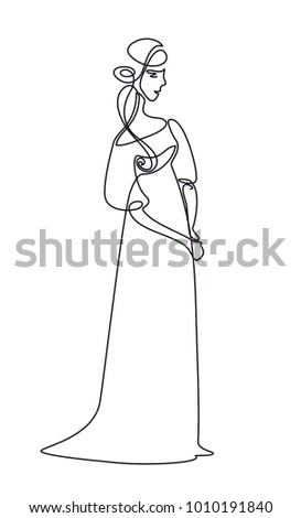 medieval lady silhouette one