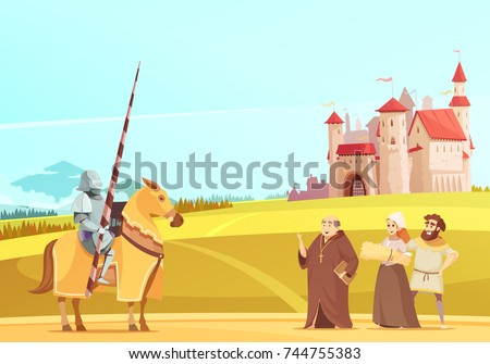 medieval life scene with...
