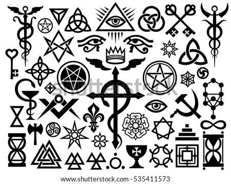 Medieval Occult Signs And Magic Stamps, Sigils, Locks, Knots.  Mystic symbols (Revisited issue: Origin set)