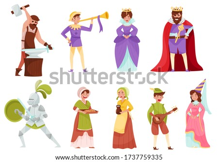 medieval people characters with