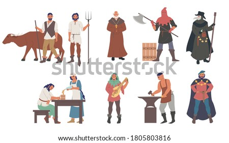 Medieval people male and female cartoon character set flat vector isolated illustration. Priest, peasants, executioner, plague doctor, blacksmith, musician, minstrel, royal courtier. Medieval clothing ストックフォト ©