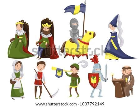medieval people set  characters