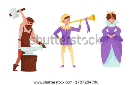 medieval people with queen and