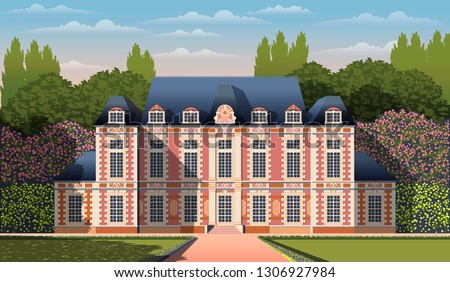 Medieval romantic old mansion with garden, flowering shrubs and trees. Flat design. Vintage Poster. All objects are grouped by layers.