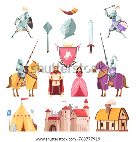 Medieval royal heraldry cartoon icons set with castle riders in armor tournament king knight princess isolated vector illustration