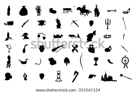 medieval silhouettes set