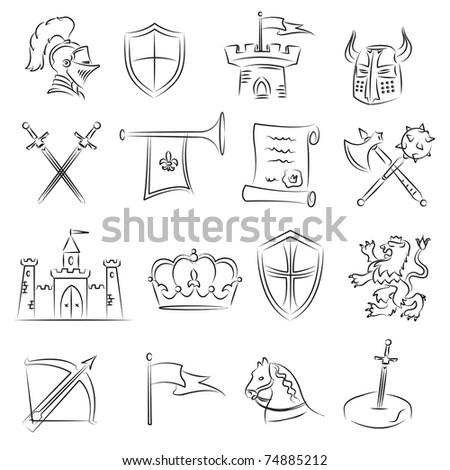 Medieval Sketch Set - stock vector