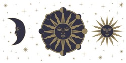 Medieval sun sol face moon phases stars astronomy alchemy gothic vector illustration