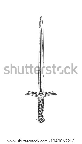 medieval sword hand drawn