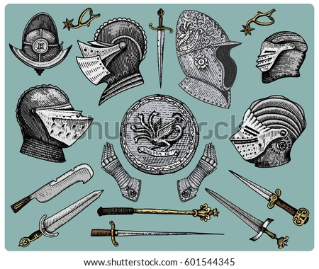 medieval symbols  helmet and