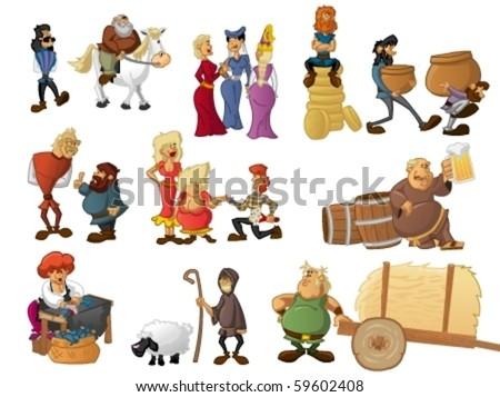 Medieval village - stock vector