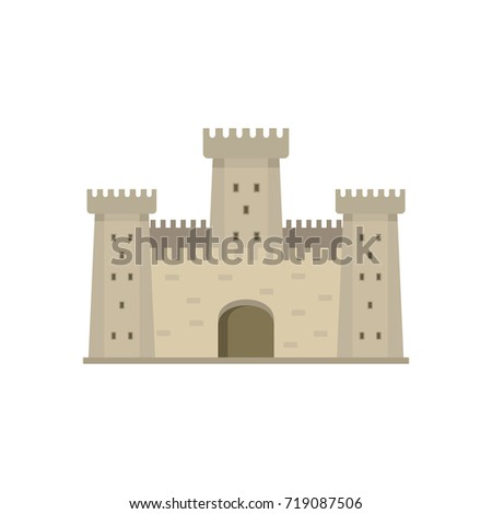 Medieval vintage castle with fortified wall and towers icon. Flat illustration of Medieval castle vector icon for web isolated on white background