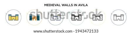 medieval walls in avila icon in