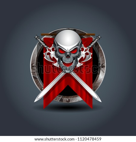 medieval warrior skull with