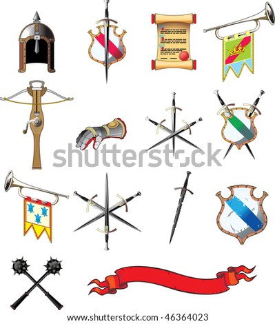 Medieval weapon icon set isolated on white