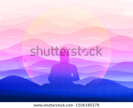 meditating buddha sits in
