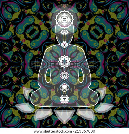Meditating Buddha with seven chakras inside the silhouette over abstract background vector illustration
