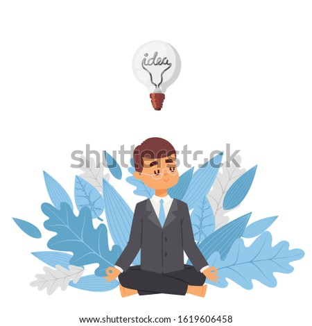 Meditating businessman with idea, vector illustration. Cartoon character man in suit on background of tree leaves. Mindful, calm, smiling visionary, business idea. Light bulb as symbol of inspiration