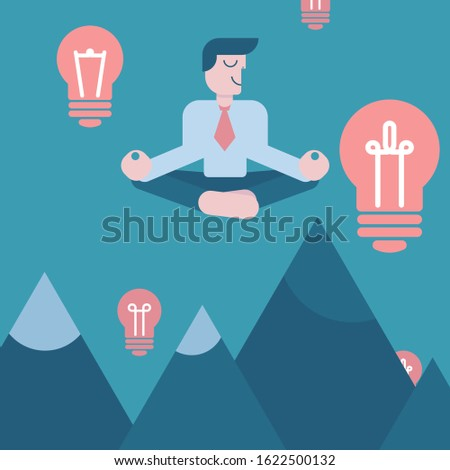 Meditating businessman with idea, vector illustration. Cartoon character man on background of sky above mountains. Mindful, calm, smiling visionary, business idea. Light bulb as symbol of inspiration