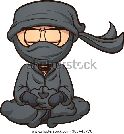 meditating cartoon ninja