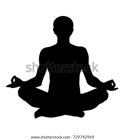 meditating lotus realistic man pose vector silhouette