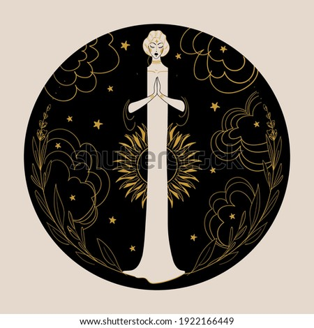Meditating woman on a night background with the moon, sun, stars and clouds in a round frame. The concept of the mother goddess, spirituality, intuition, esotericism. Vector hand drawn illustration.