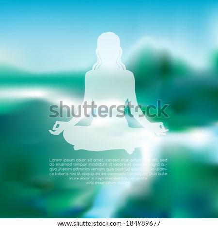meditating woman silhouette on