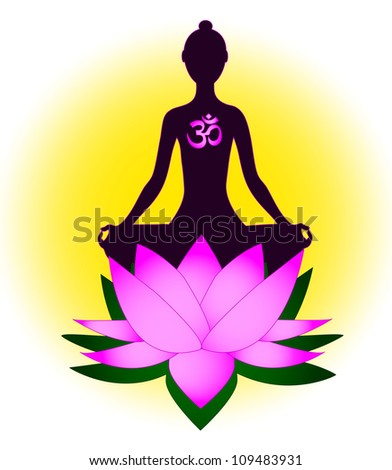 Meditating woman with om symbol and lotus
